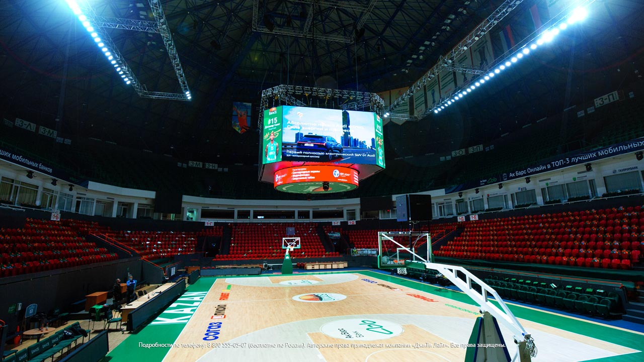 LED video cube for the basketball stadium, Kazan, Basket-hall, UNICS - GTLight. Russia, photo 2